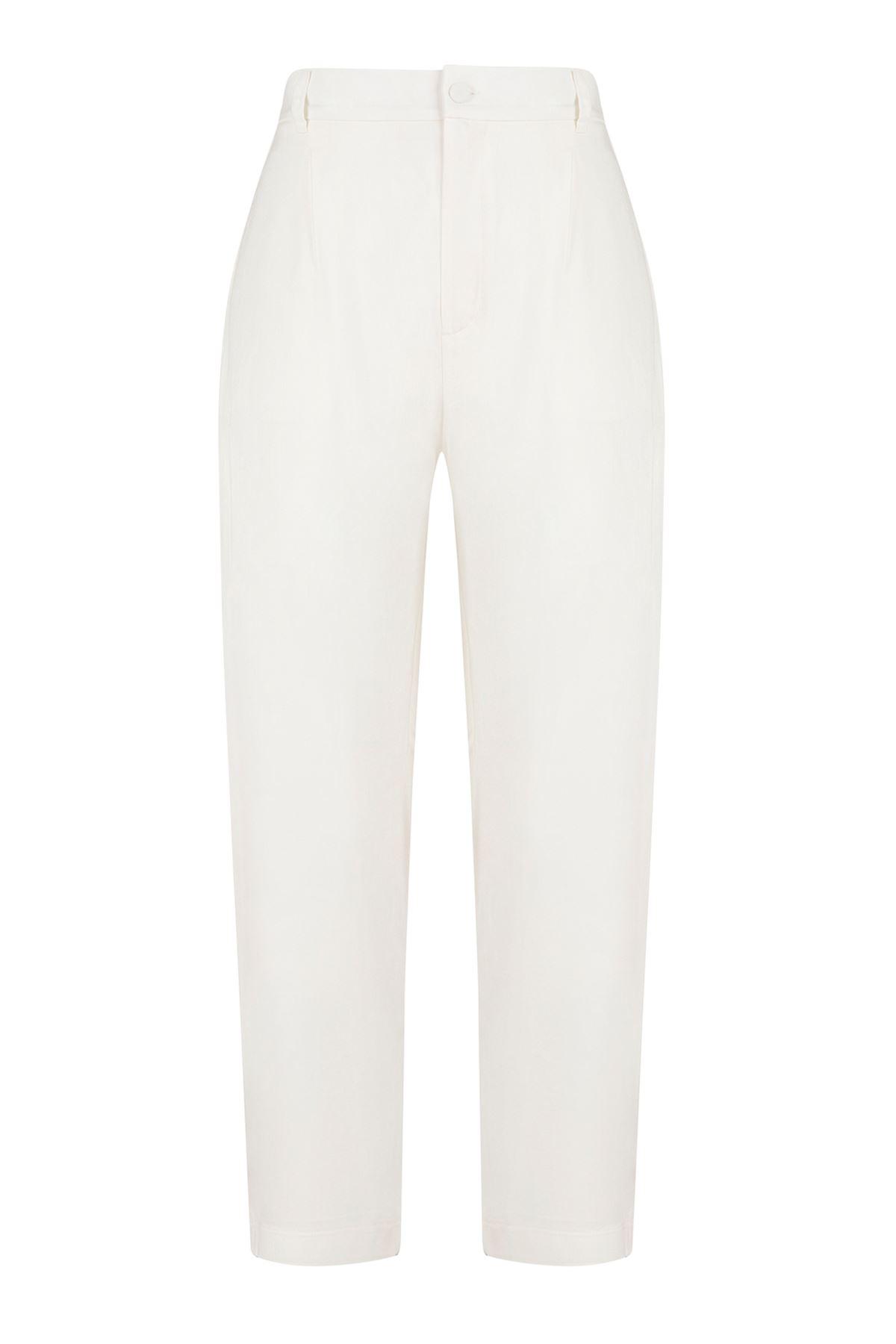 Beyaz Cigaretti Pantolon (Arka Bel Lastikli)