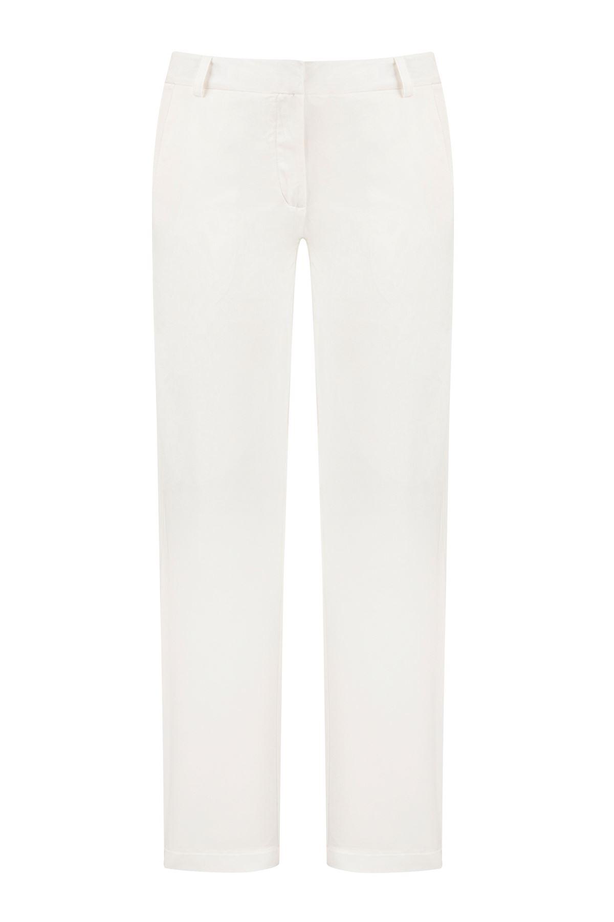 Beyaz Fitted Cigarette Pantolon