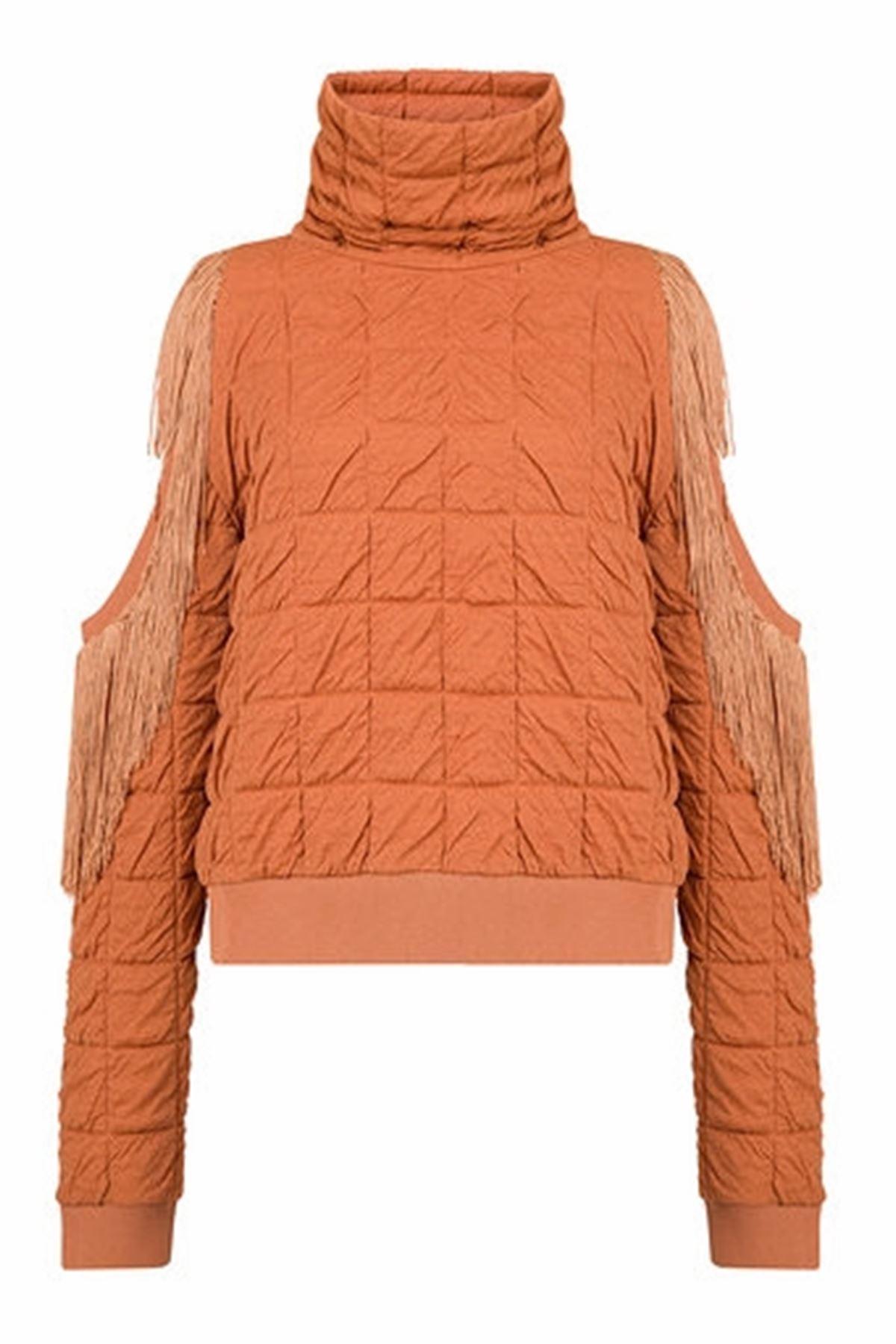 Fringe Detailed Turtlenek Sweatshirt