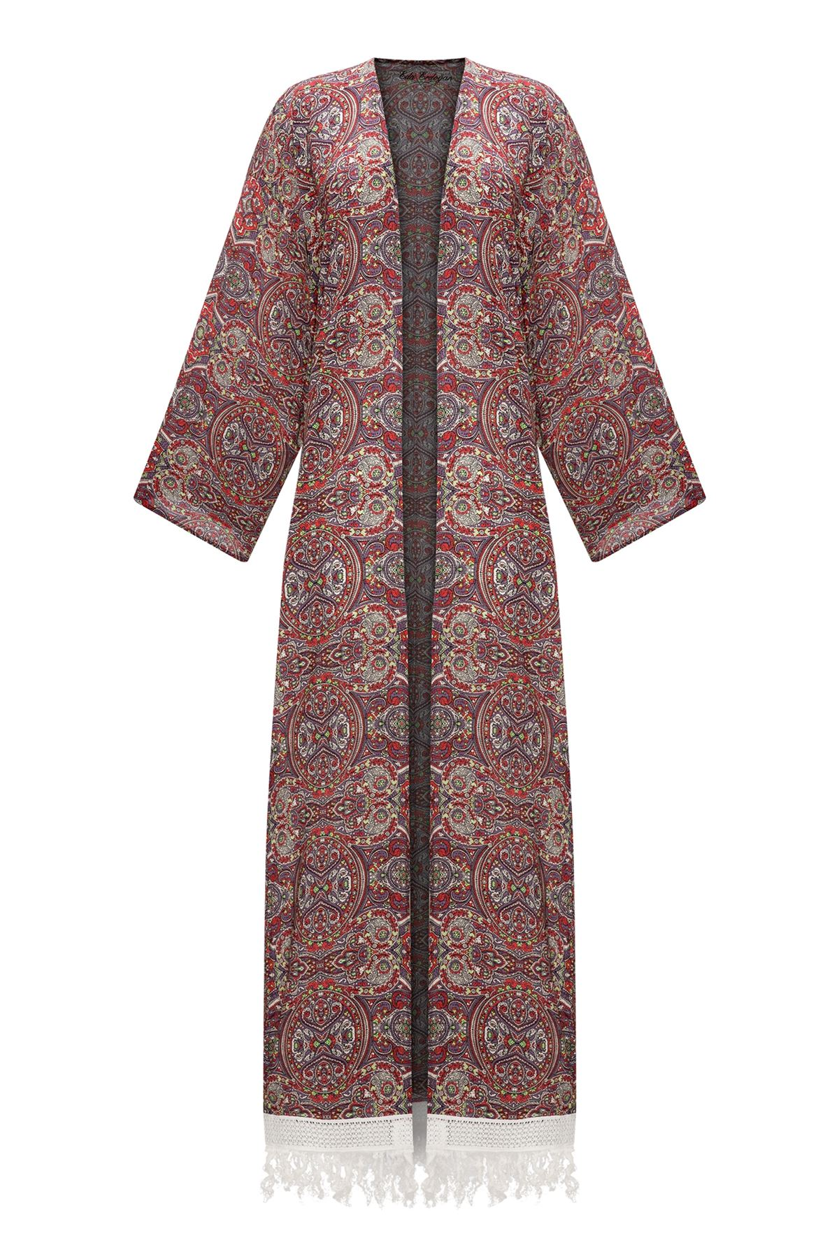 Kırmızı Etnik Desen Uzun Kimono