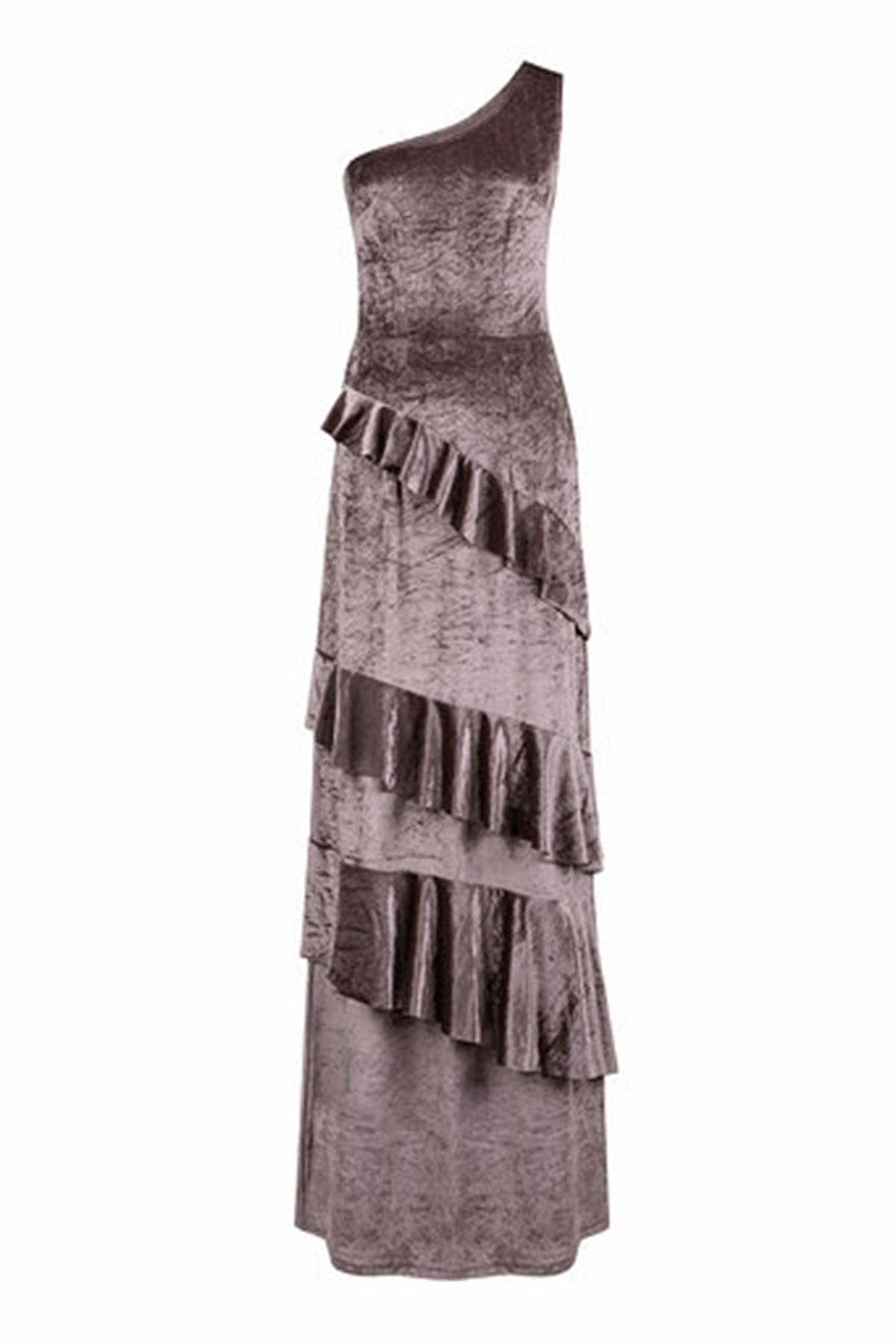 Tek Omuz Volanlı Uzun Kadife Elbise