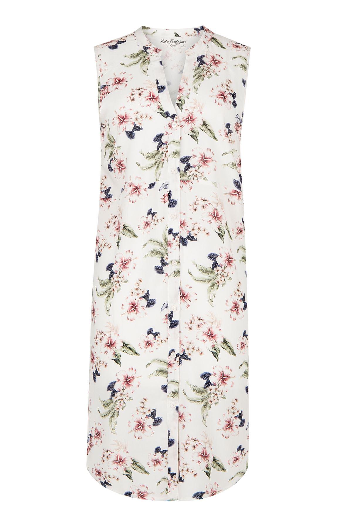Kolsuz Düğmeli Midi Boy Elbise (Beyaz Üzeri Çiçekli)