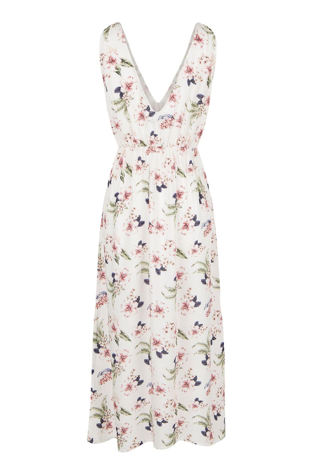 Midi Elbise Beyaz Üzeri Çiçekli (Ön Yaka Volanlı Arka Yaka V)