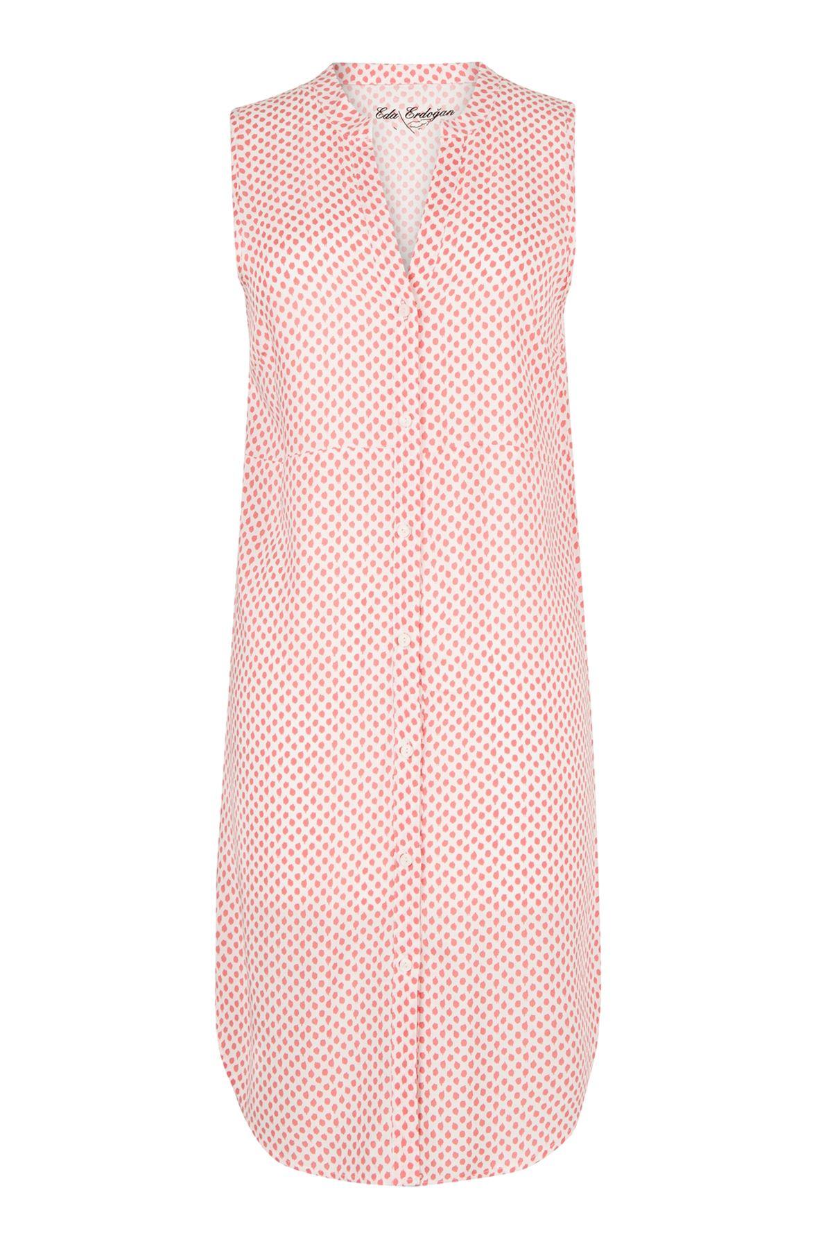 Kolsuz Düğmeli Midi Boy Elbise (Yavruağzı Puantiyeli)