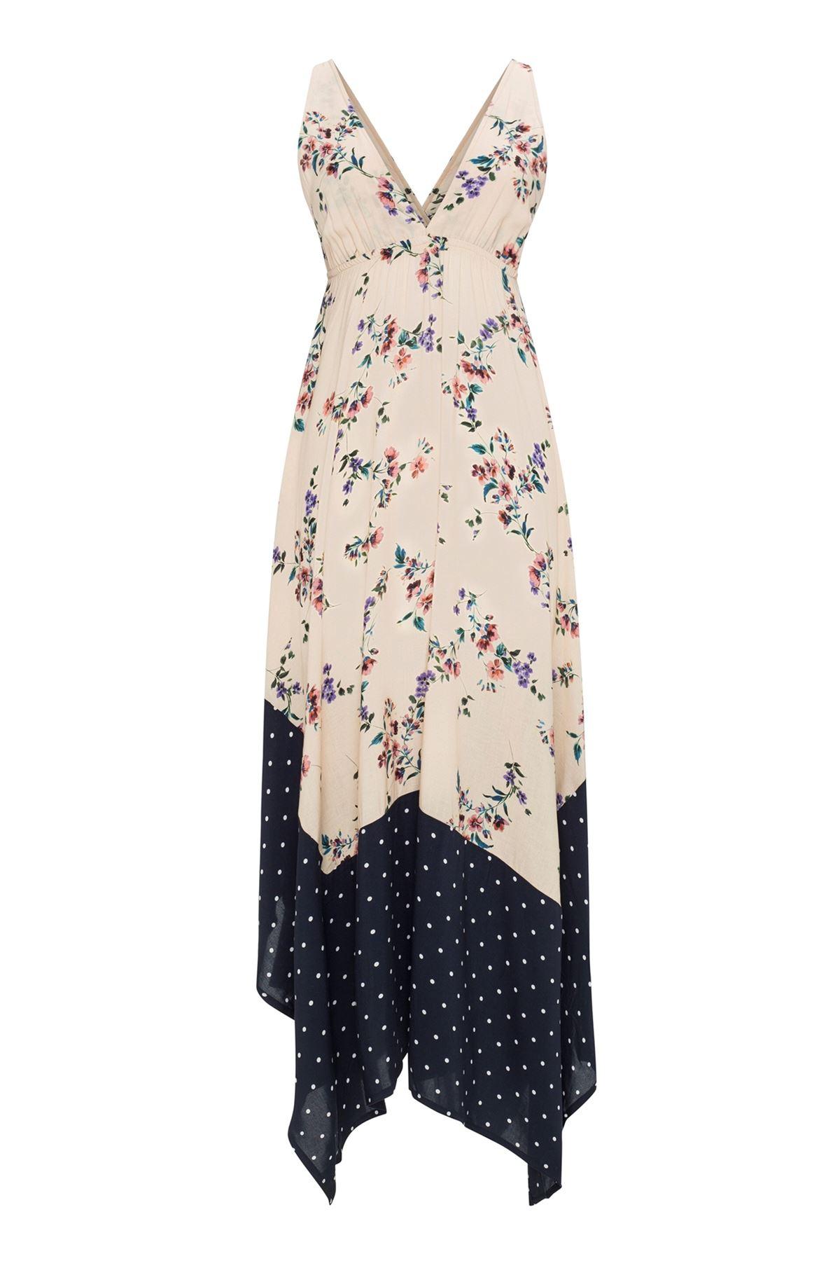 Romantic Two Color Midi Dress