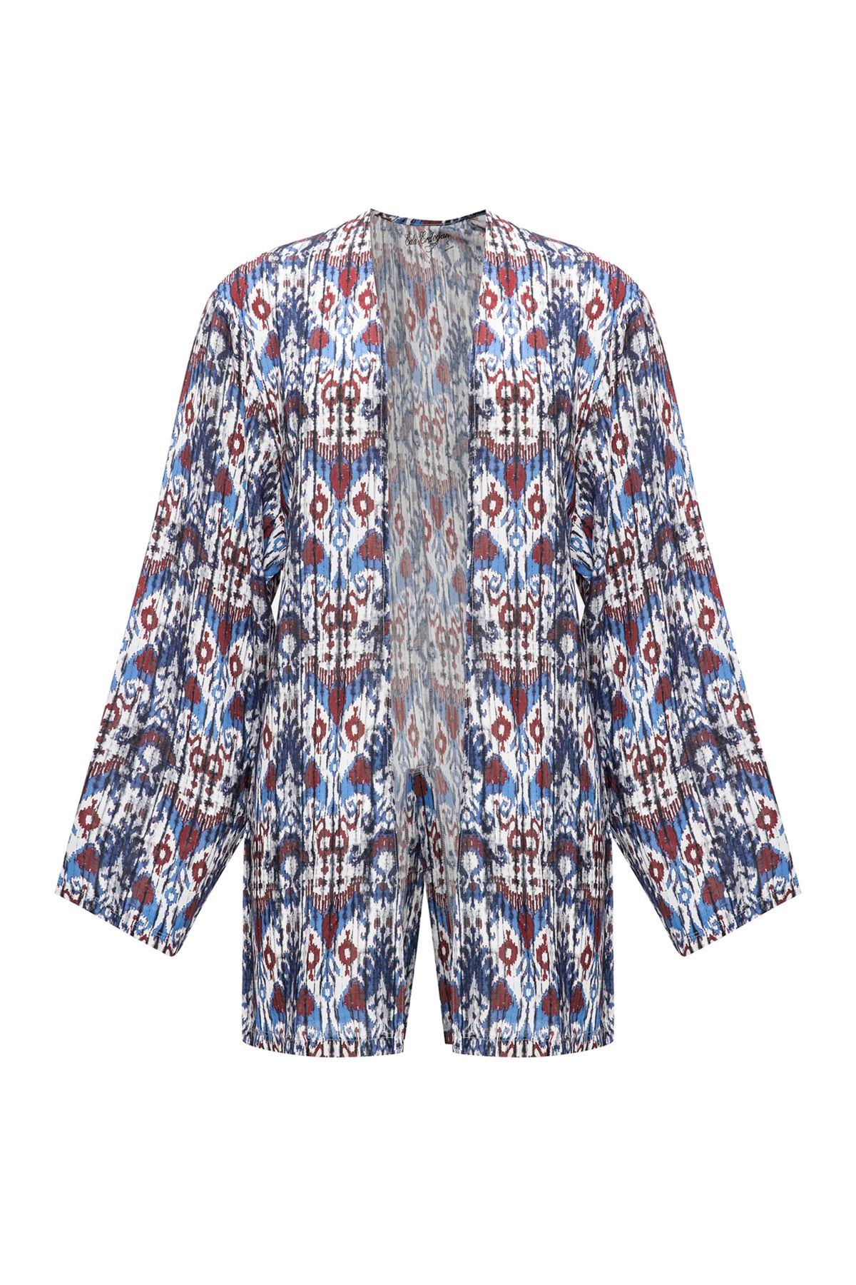 Mavi Etnik Desen Kısa Kimono
