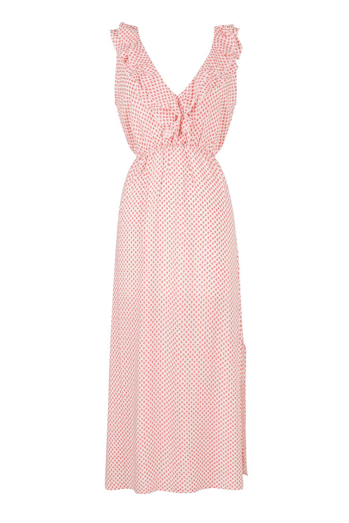 Midi Elbise Yavruağzı Puantiyeli (Ön Yaka Volanlı Arka Yaka V)
