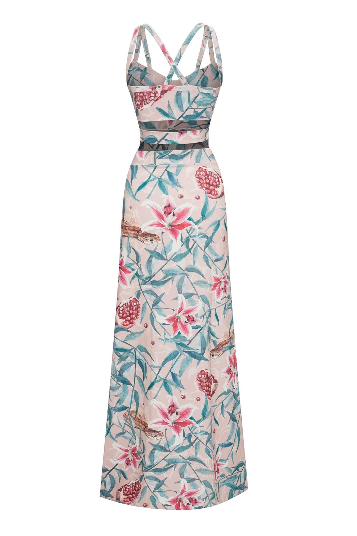 Pomegranate Multi-Band Maxi Dress