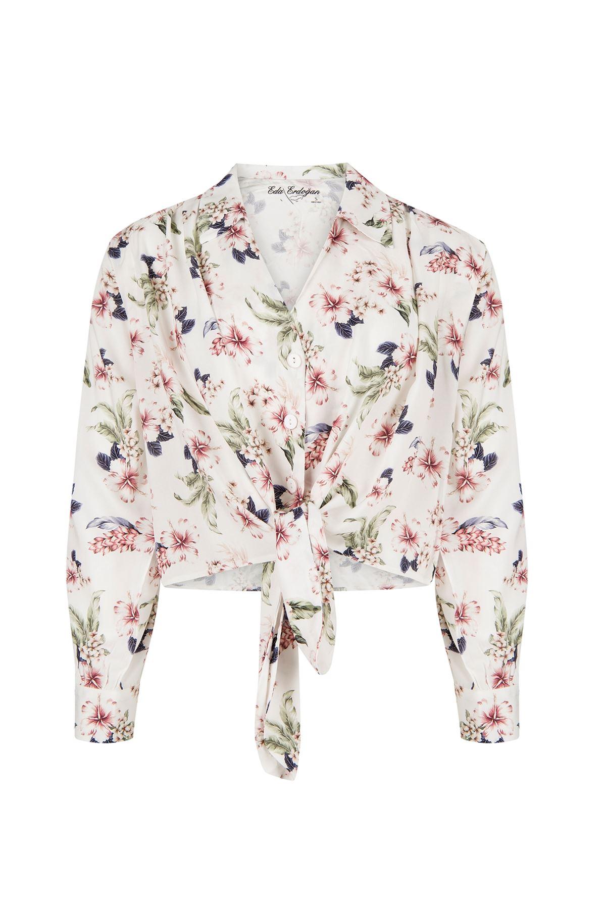 Önden Bağlamalı Gömlek (Beyaz Üzeri Çiçekli)