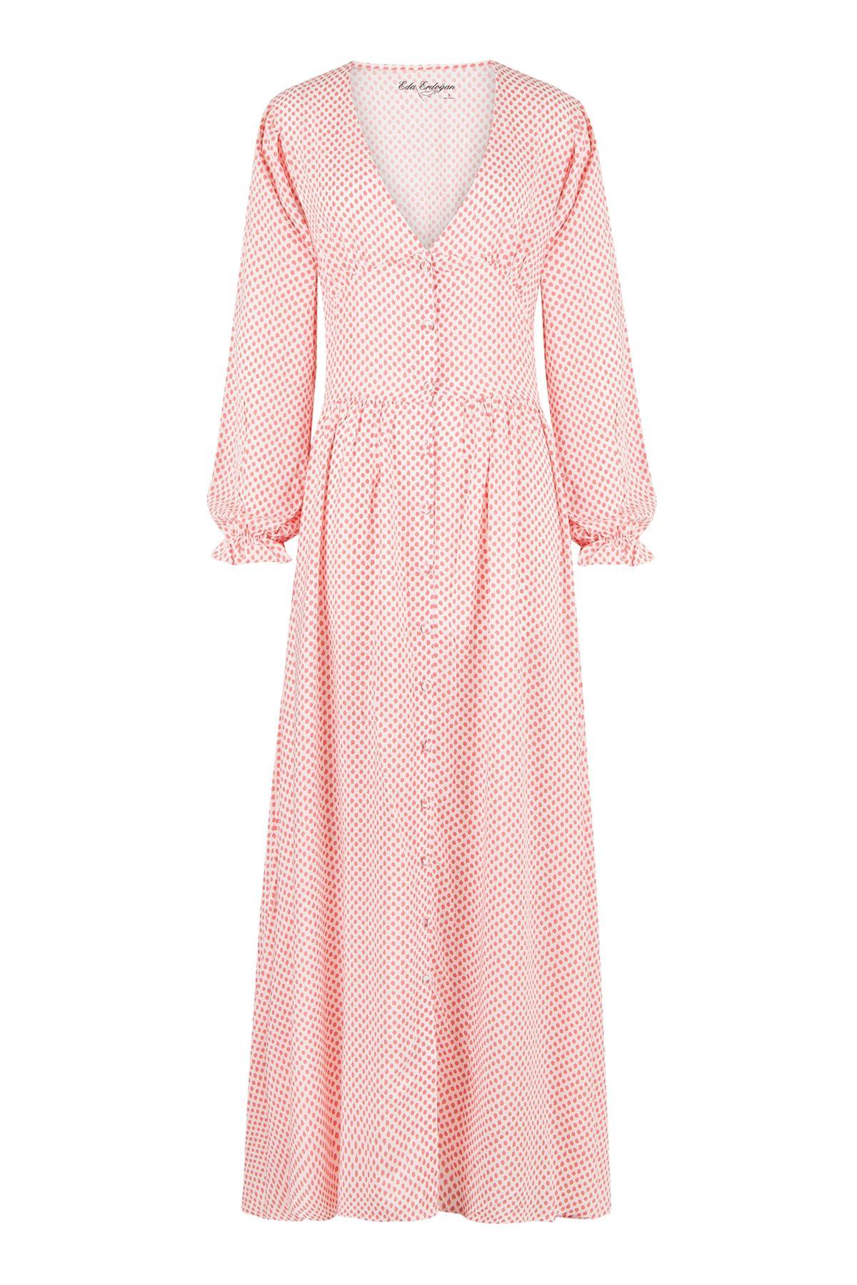 Vintage Dress (Beyaz Üzeri Yavruağzı Puantiyeli)