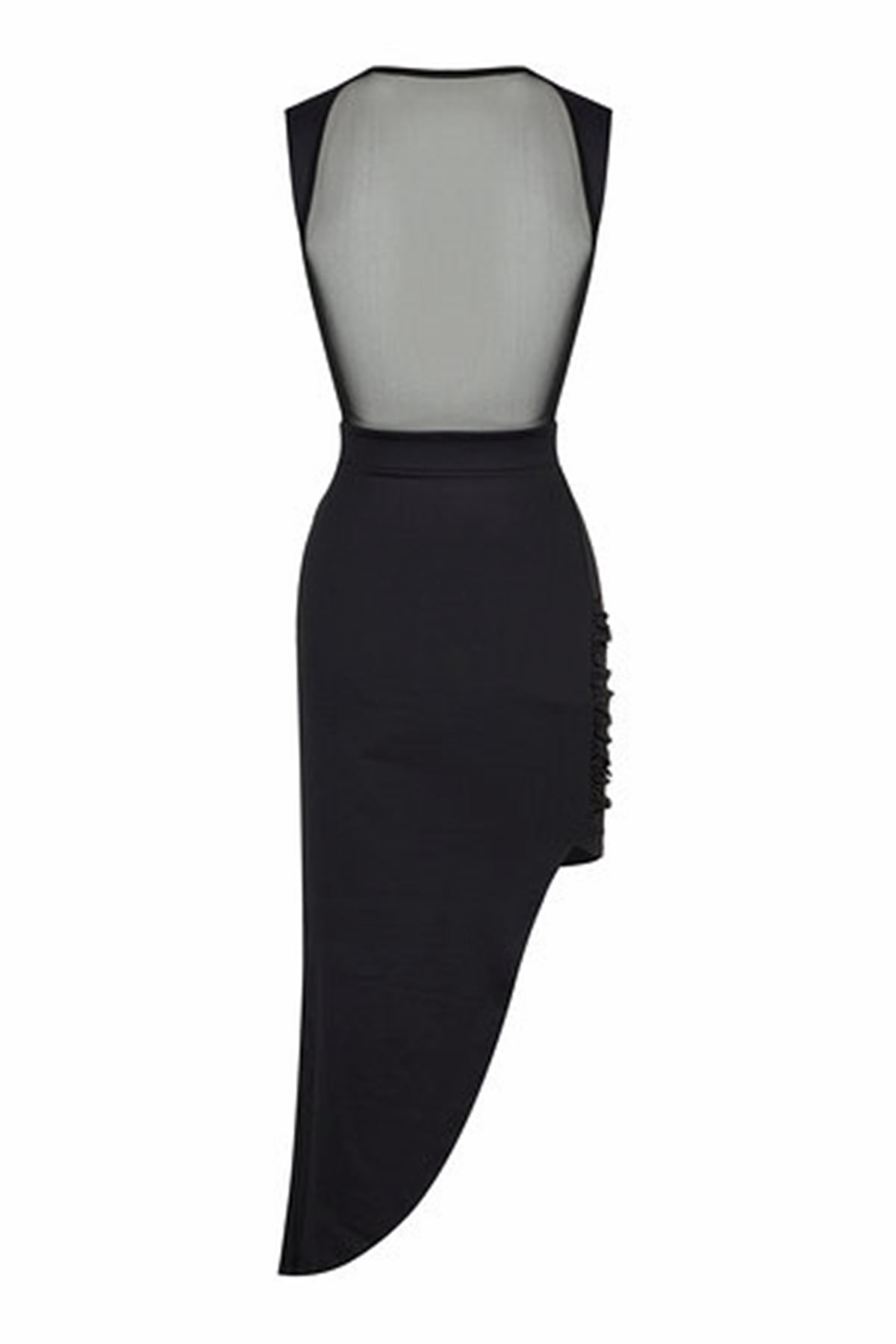 Sırt Transparan drappeli Elbise