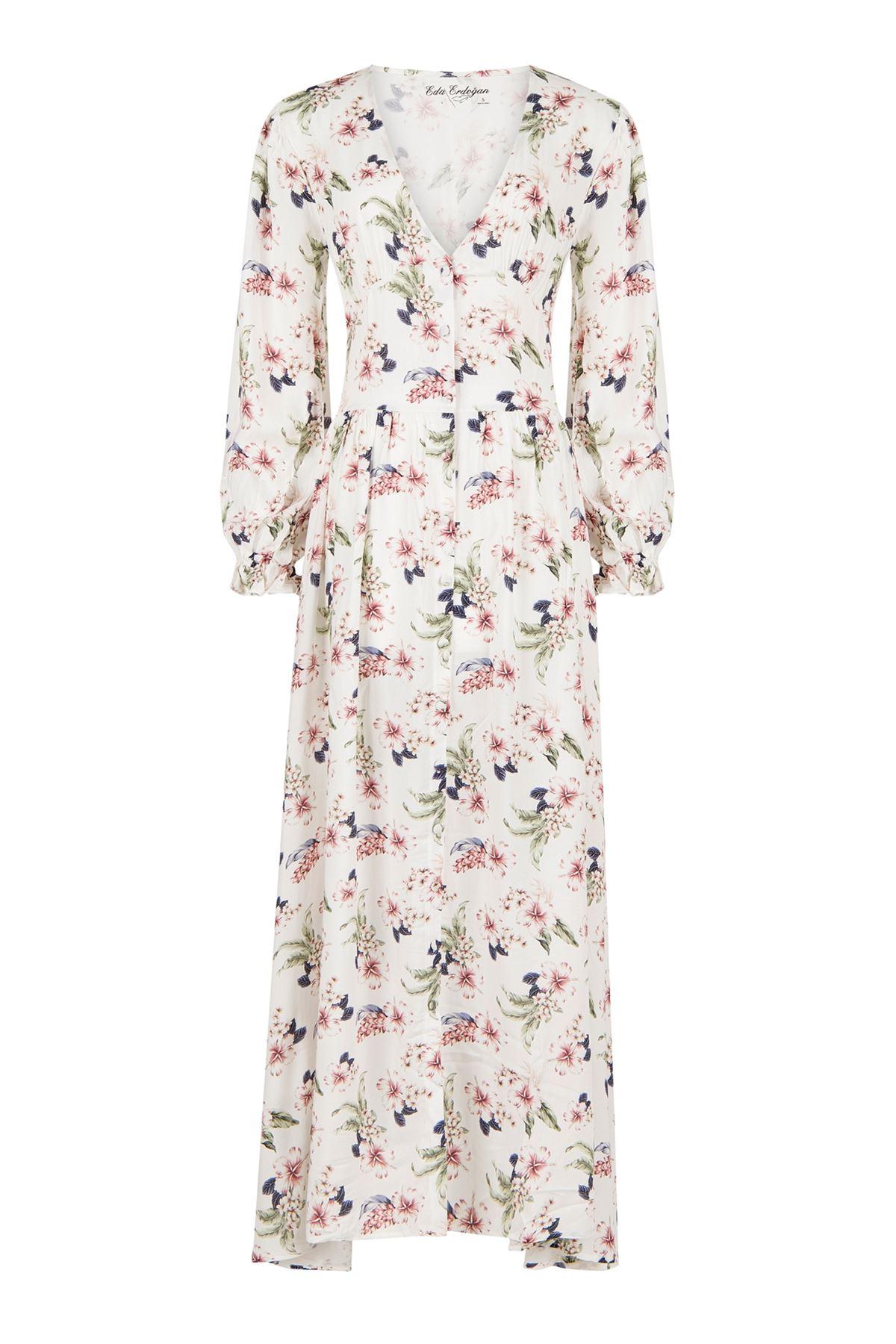 Vintage Dress (Beyaz Üzeri Çiçekli)