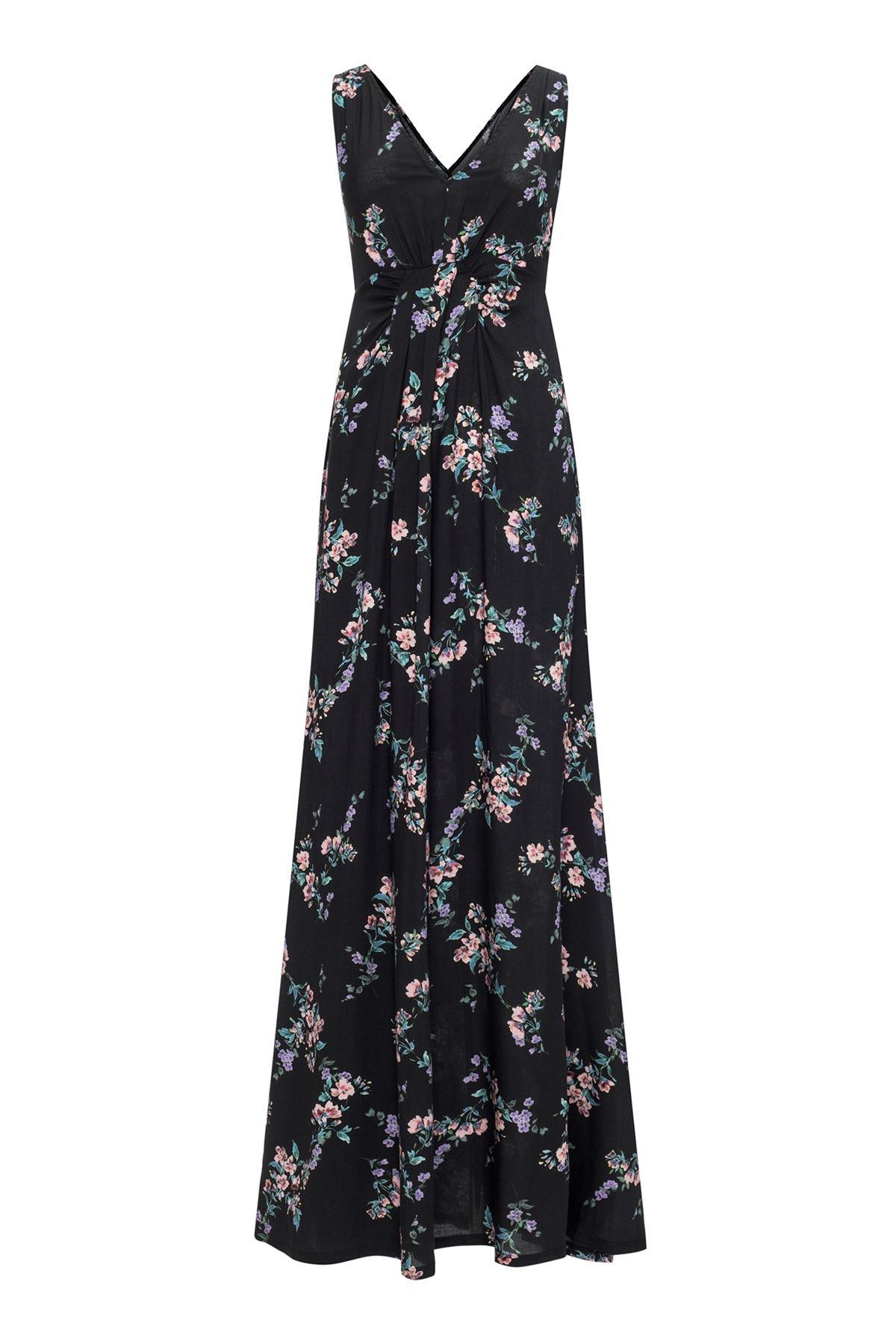 V-Neck Black Garden Maxi Dress