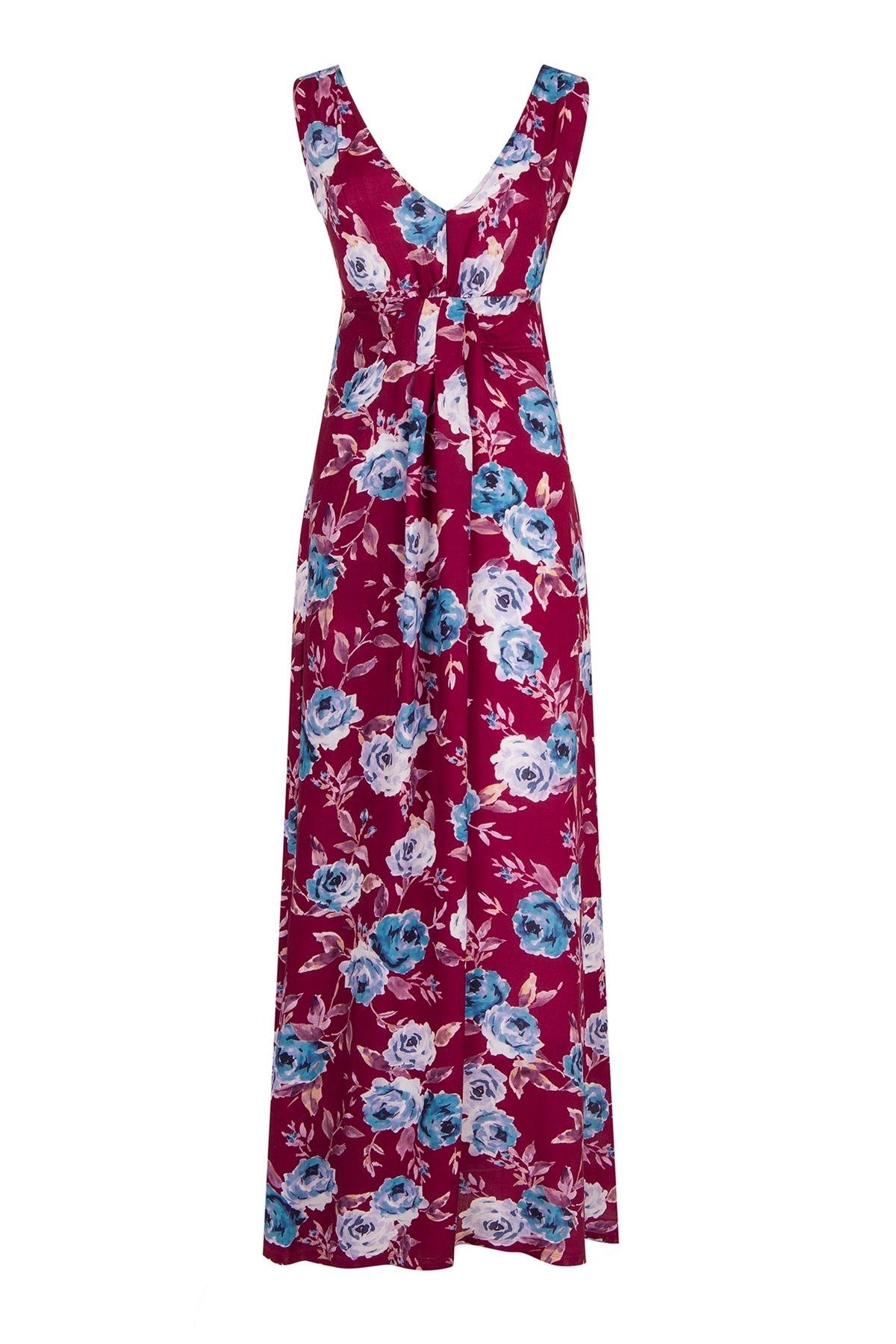 V-Neck Watercolor Maxi Dress