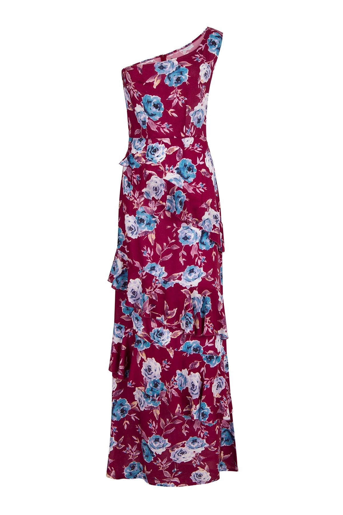 Watercolor One Shoulder Frilled Dress