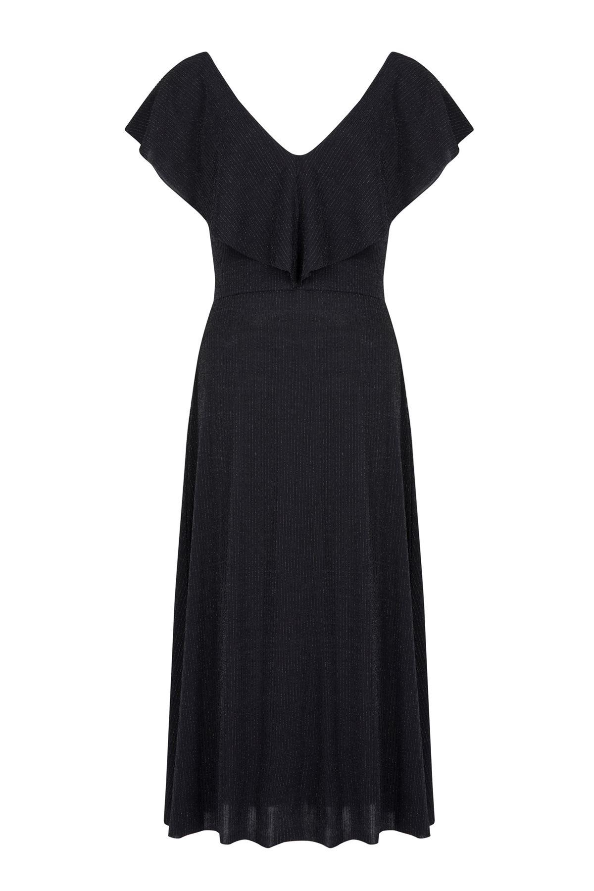 Yarasa Yaka Kendinden Simli Midi Elbise