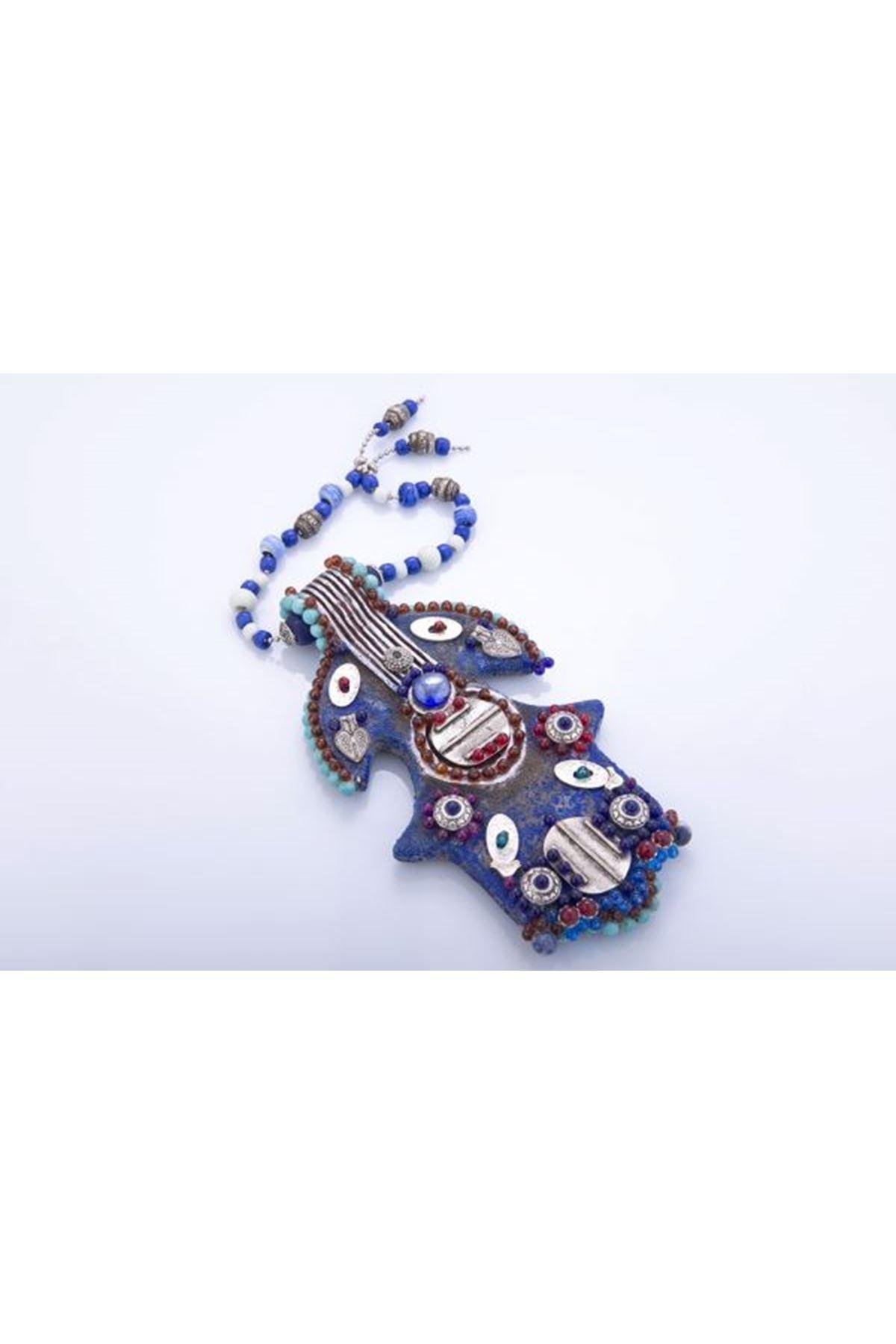 Seramık Aztek Fatima Eli Gümüş İşlemeli Tuval Hedıyelık