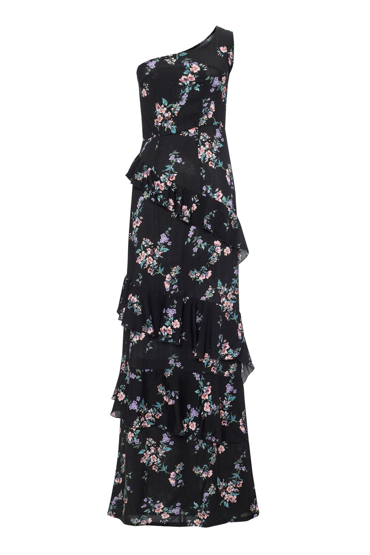 Black Garden One Shoulder Frilled Dress
