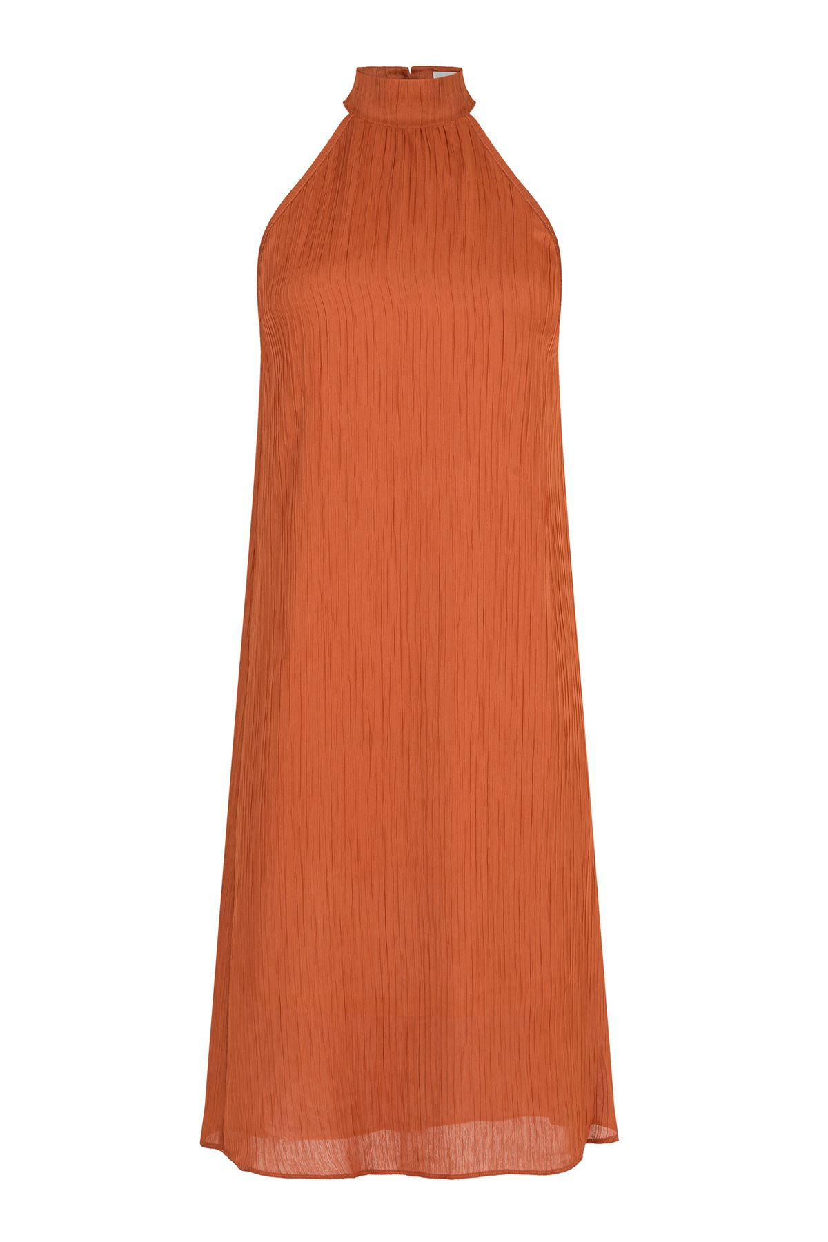 Kendinden Pileli Midi Elbise (Kiremit Rengi)