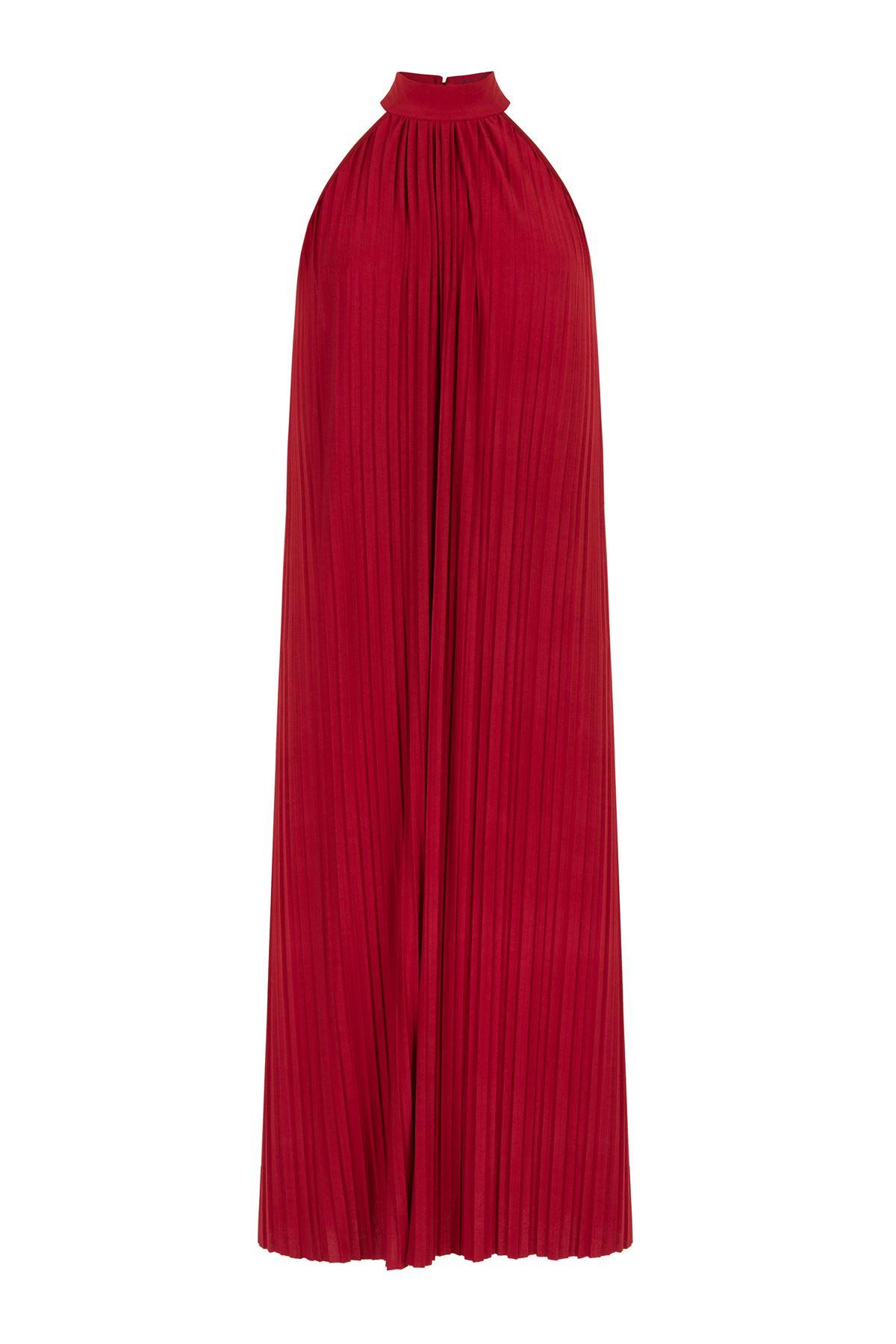 Kırmızı Maxi Elbise Kendinden Pileli