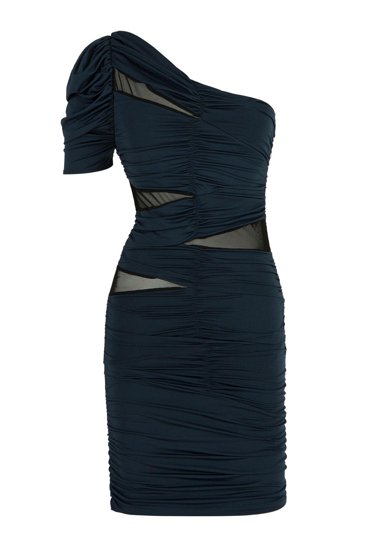 Tek Omuz Drappeli Lacivert Mini Elbise