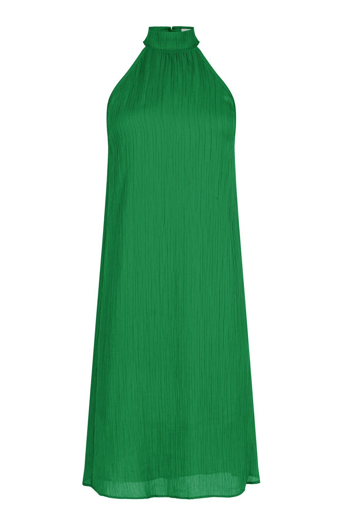 Kendinden Pileli Yeşil Midi Elbise