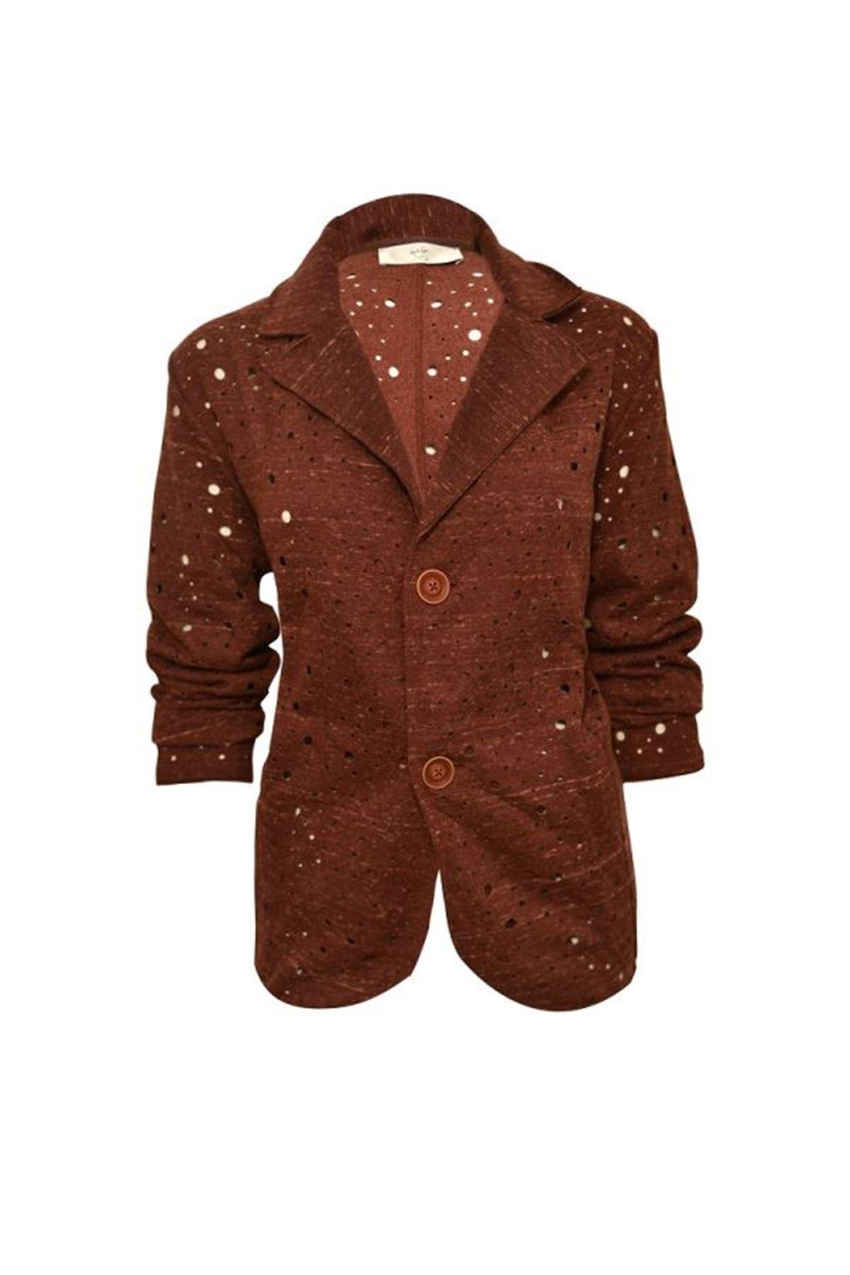 Delikli Kumaş Blazer Ceket