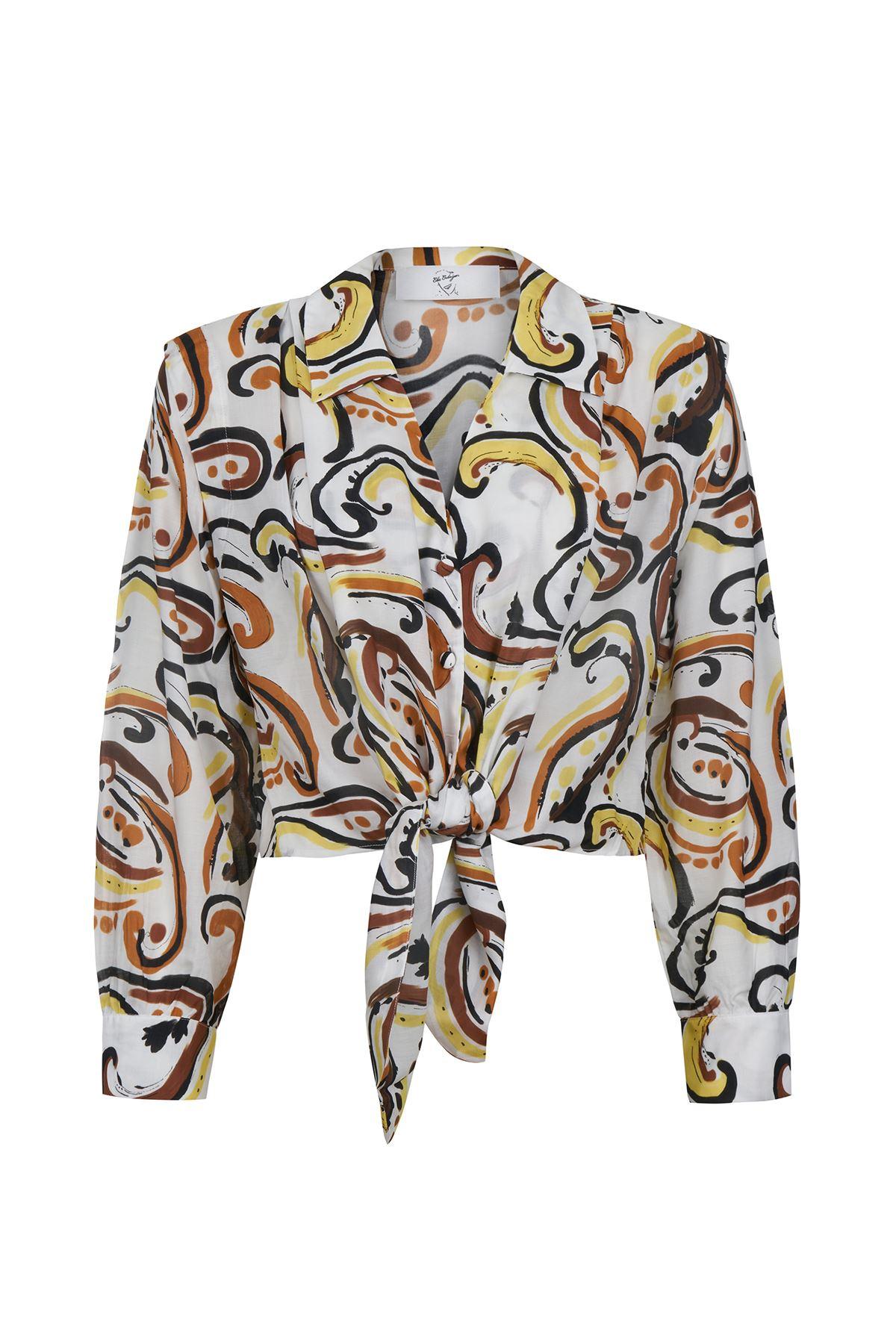 Önden Bağlamalı Gömlek (Art Desen)