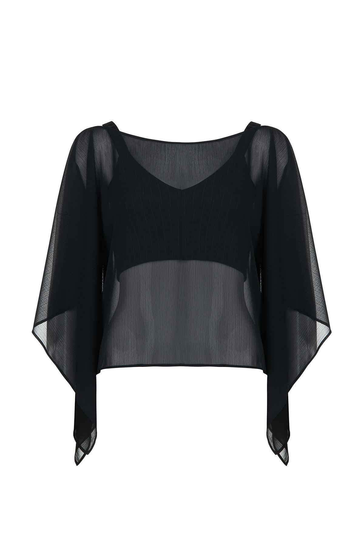 Siyah Şifon Bluz (Yarasa Kol)