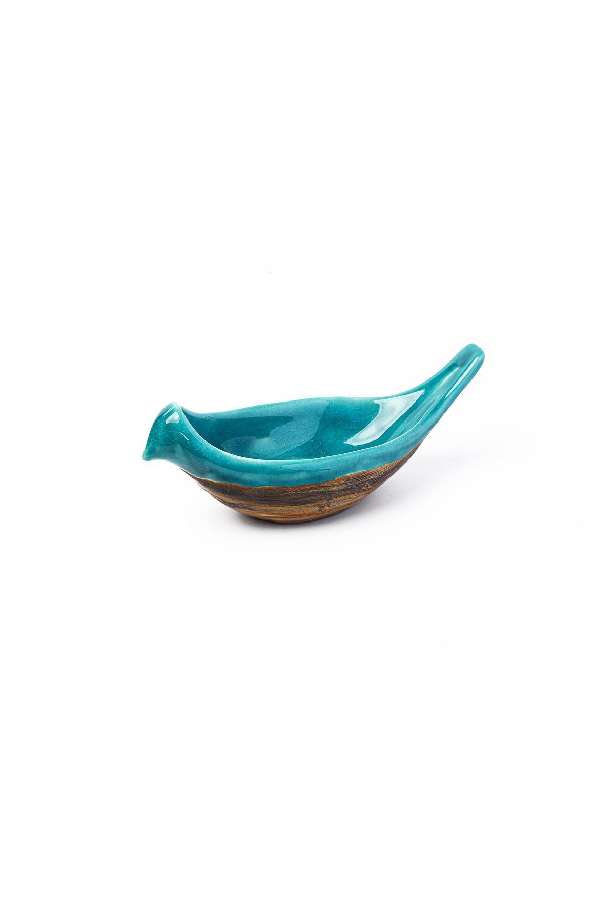 Seramık Kuş Çerezlik Büyük Eskitme İki Renk Mavı Kahve Tuval Hedıyelık