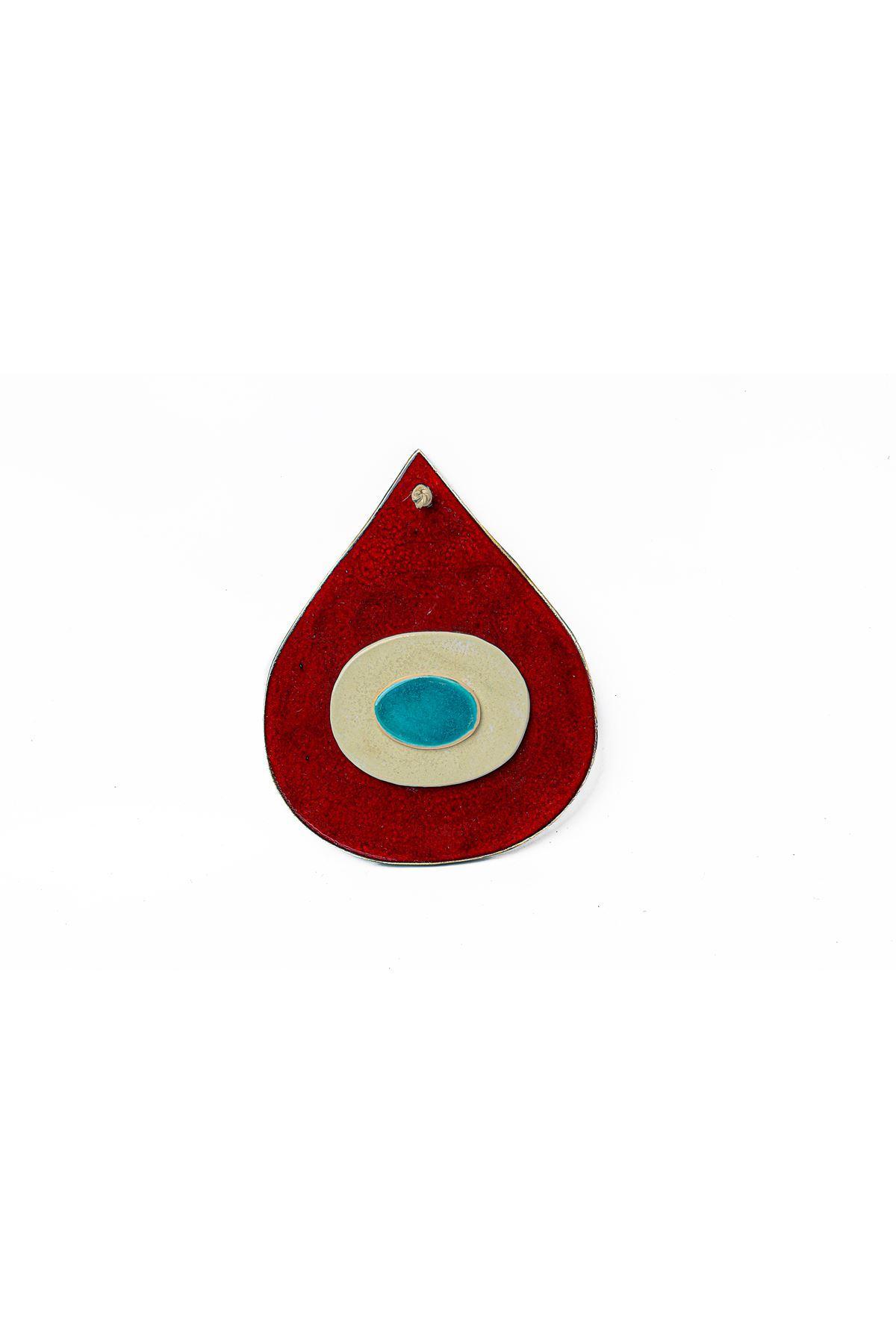 Seramık Buyuk Damla Nazarlık Kırmızı Tuval Hedıyelık