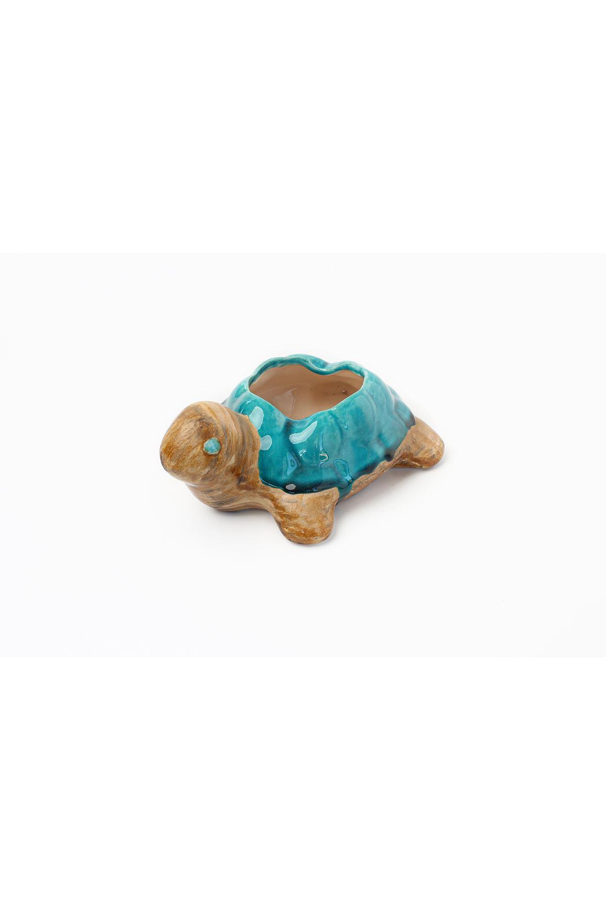 Seramık Orta Küllük Kaplumbağa Eskitme İki Renk Kahve Turkuaz Tuval Hedıyelık
