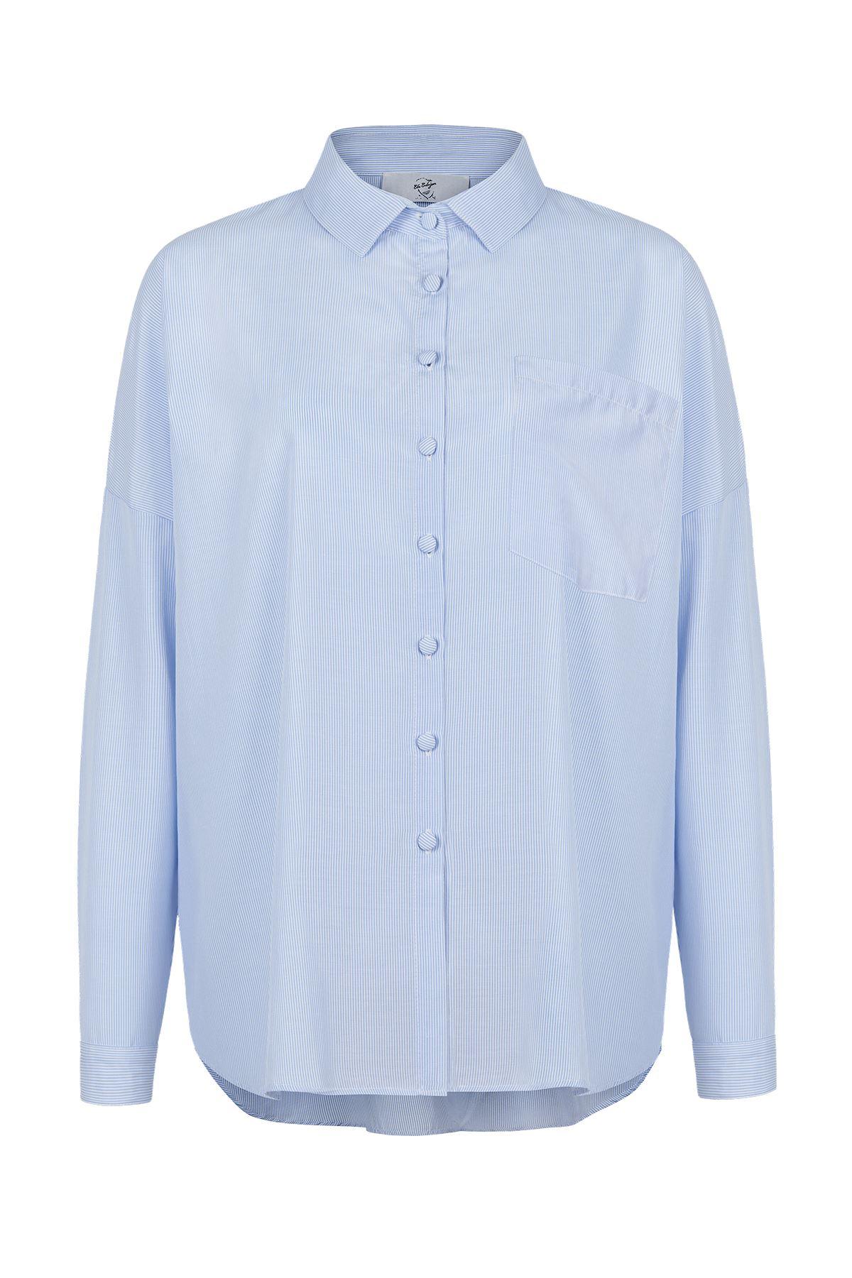 Bayan Gömlek (Beyaz Mavi Çizgili)