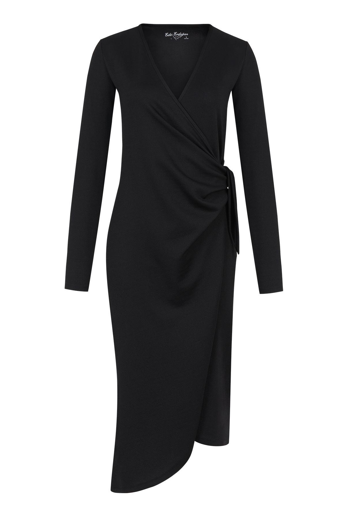 Siyah Kruvaze Midi Boy Elbise