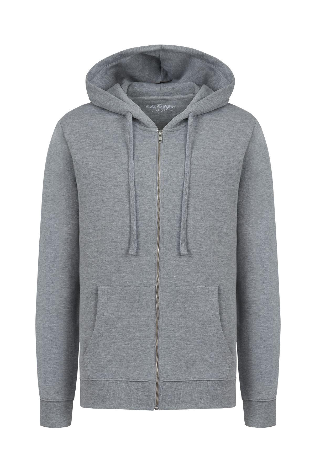 Erkek Önden Fermuarlı Hoddy Sweatshirt (Açık Gri)