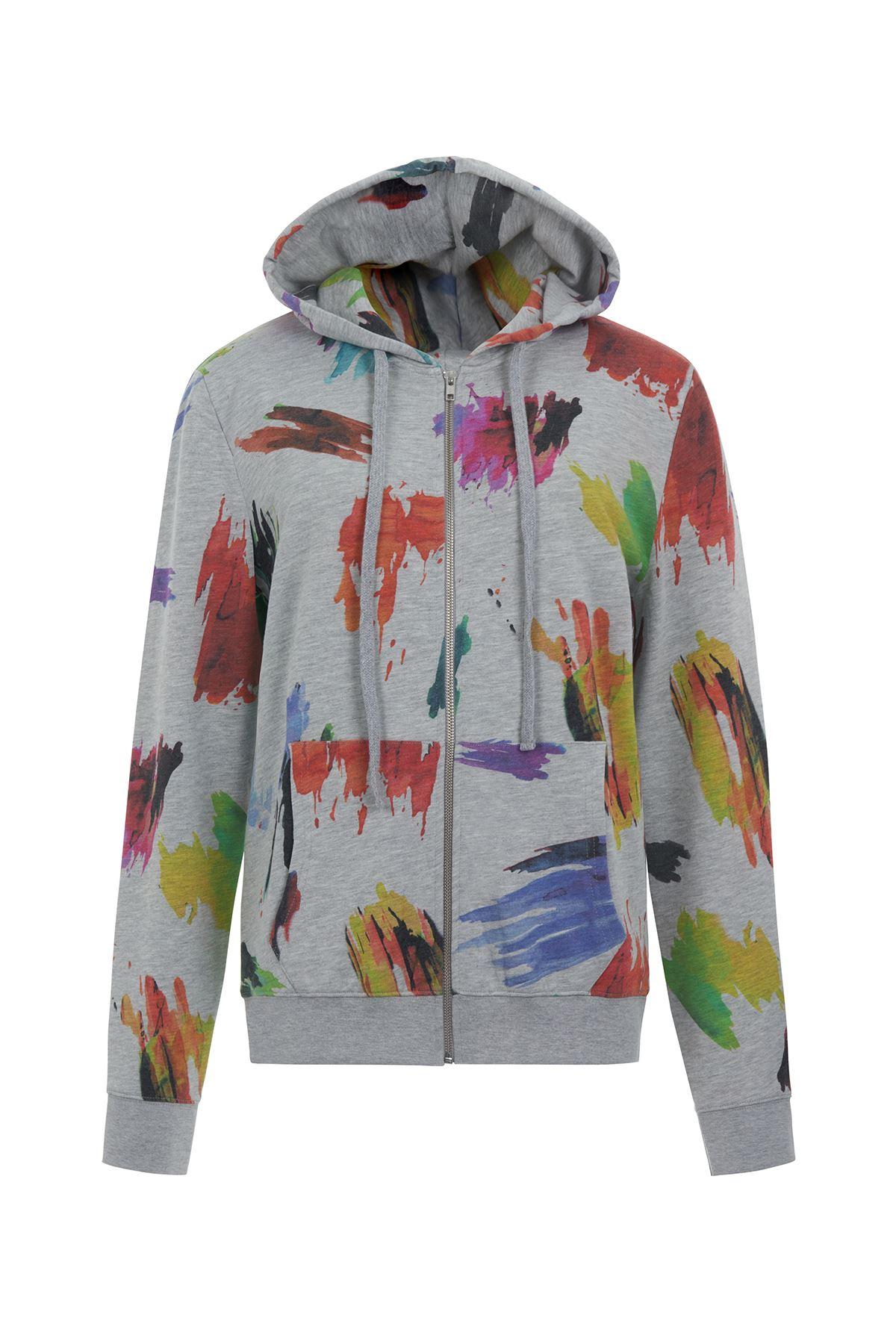 Bayan Watercolor Önden Fermuarlı Hoddy Sweatshirt