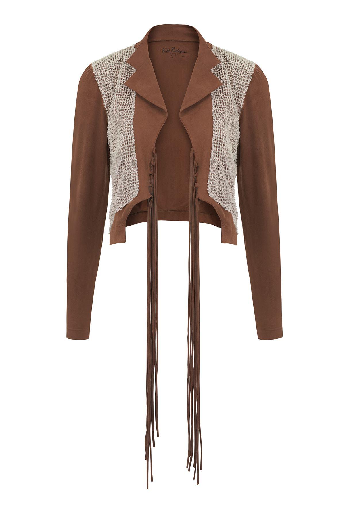 File Detaylı Süet Ceket