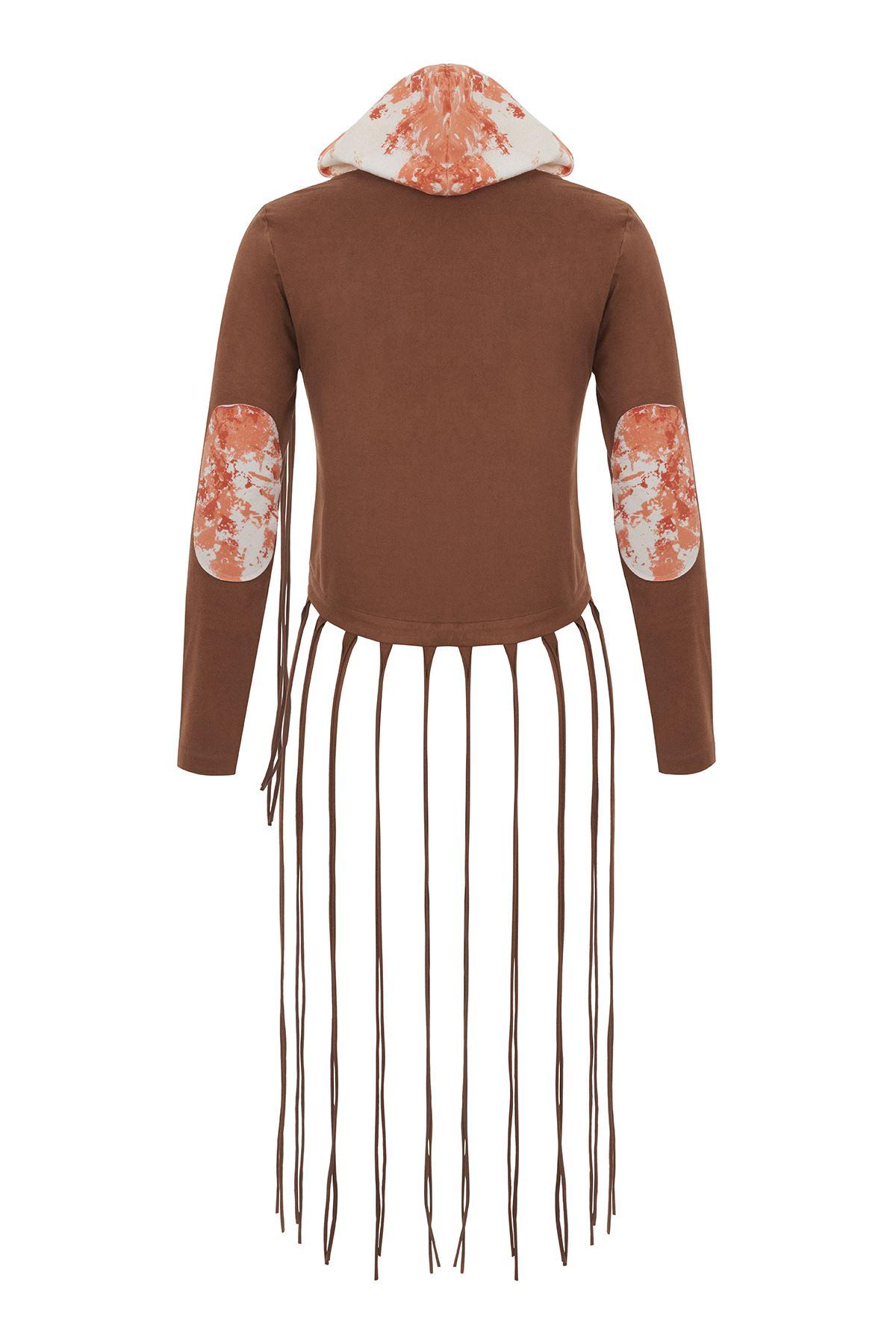 Hardal Batik Detaylı Süet Ceket