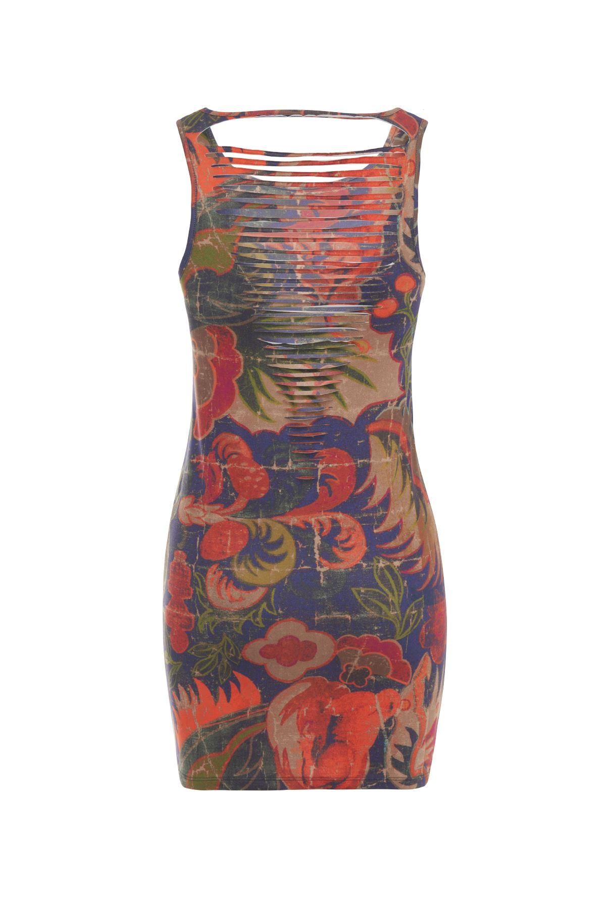 Mercan Desen İpli Mini Elbise