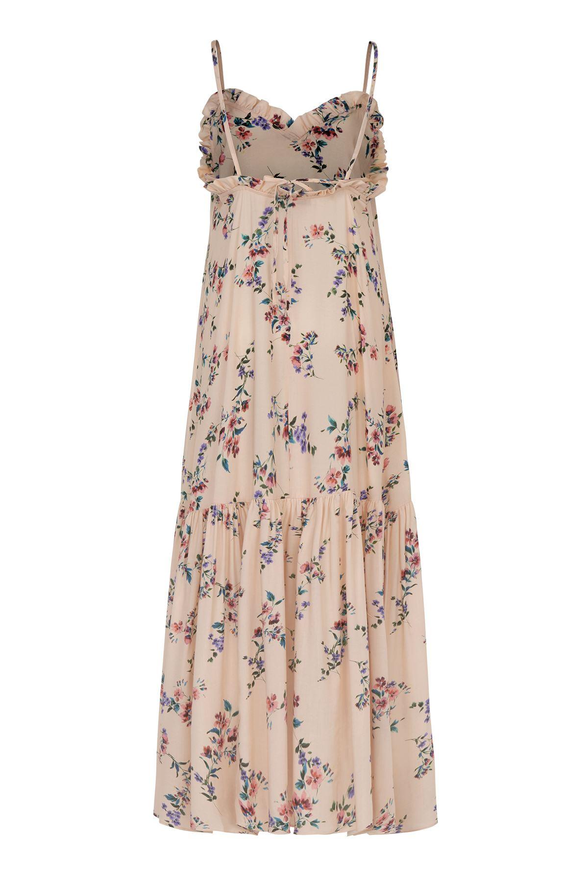 Fırfır Detaylı Maxi Elbise Sırt İpli (Floral)