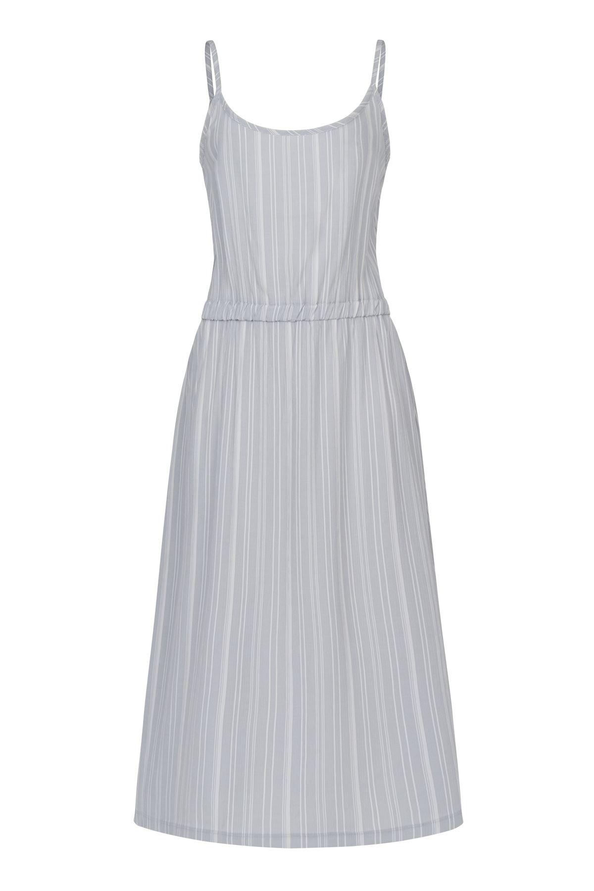 Askılı Comfort Dress (Açık Gri Beyaz Çizgili)