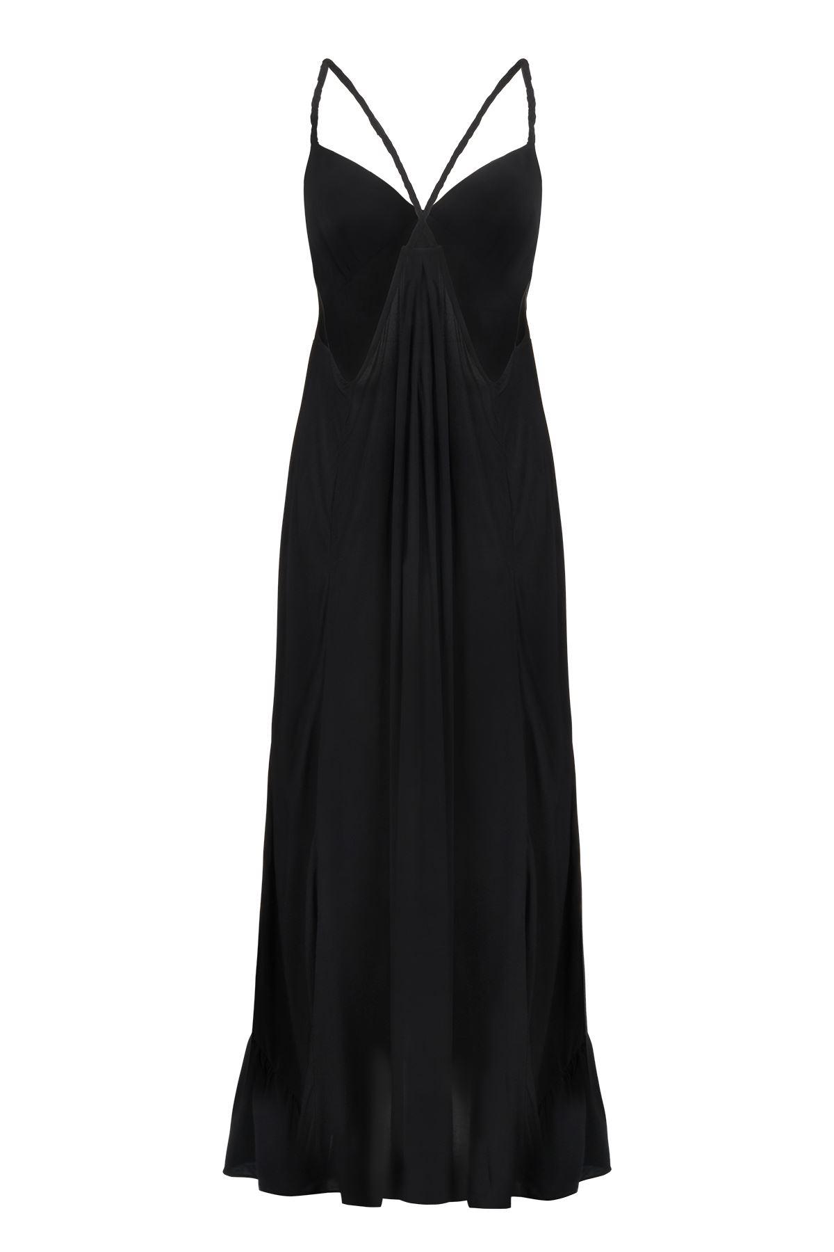 Siyah Maxi Elbise Örgü Askılı