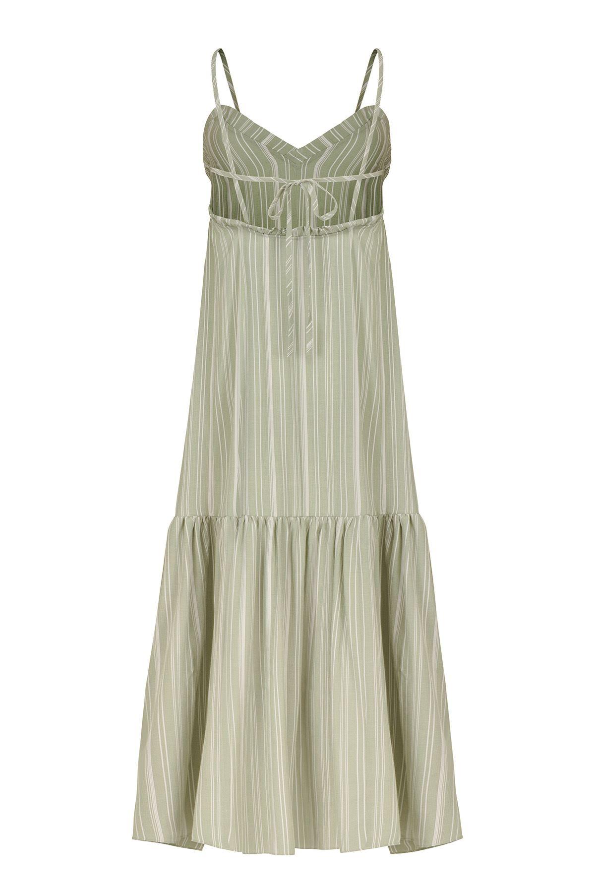 Fırfır Detaylı Maxi Elbise Sırt İpli (Çağla Yeşili Beyaz Çizgili)