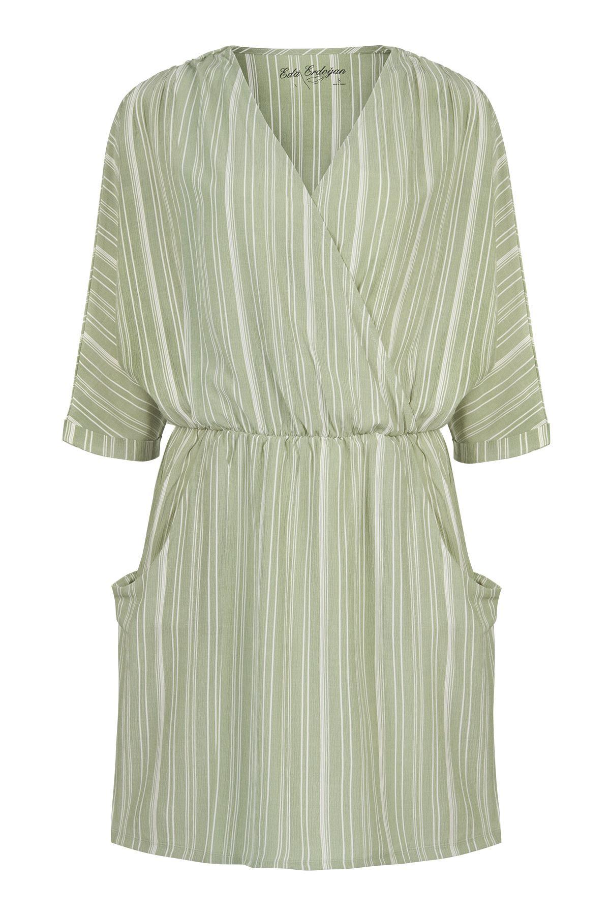 Dirsek Kol Cepli Mini Elbise (Çağla Yeşili Beyaz Çizgili)