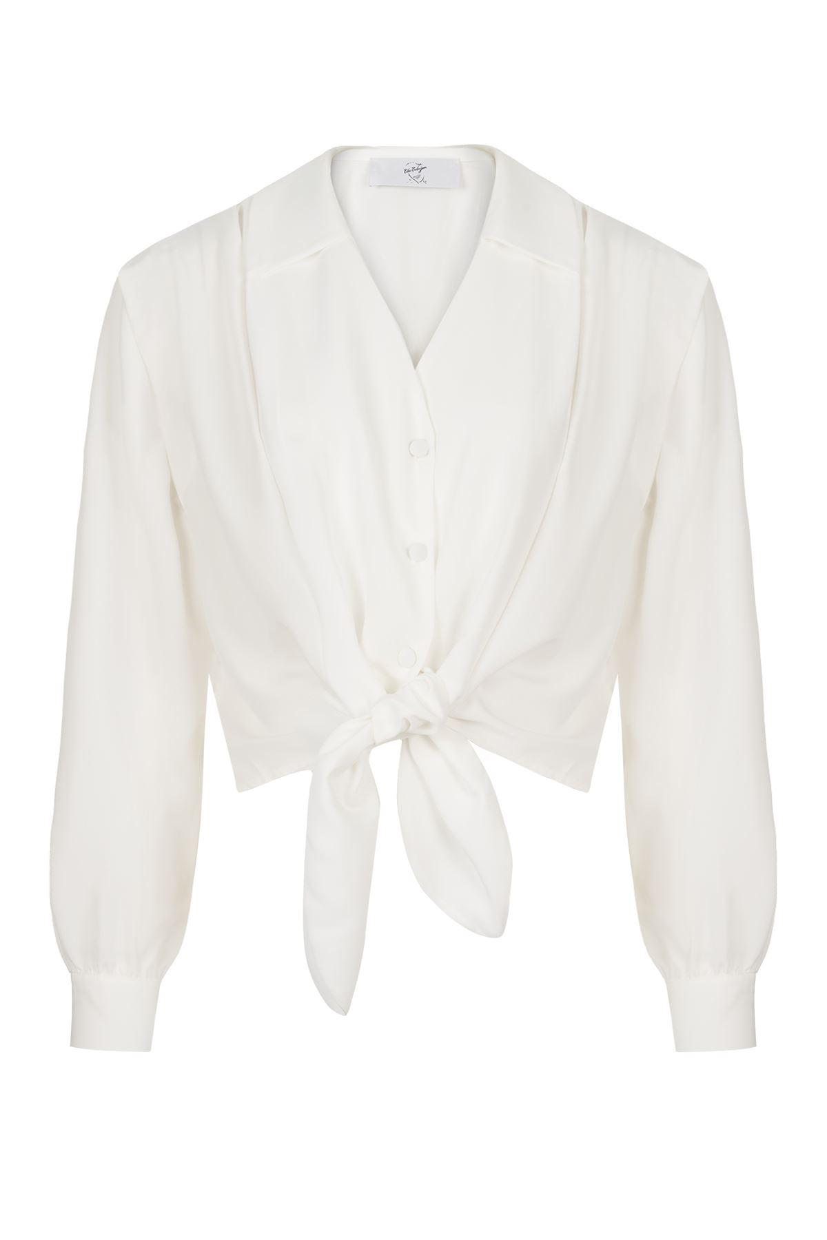 Önden Bağlamalı Gömlek (Beyaz)